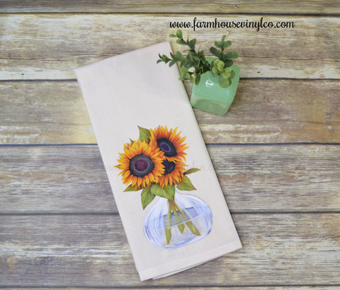 Farmhouse Vintage Style Sunflower Tea Towel