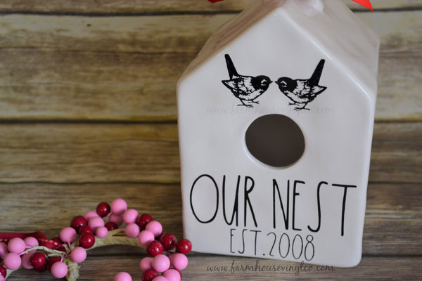 Rae Dunn Inspired Valentine's Day Birdhouse Vinyl Decals
