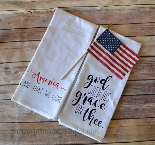 Rae Dunn Inspired Patriotic and Fourth of July Kitchen Flat Weave Towels