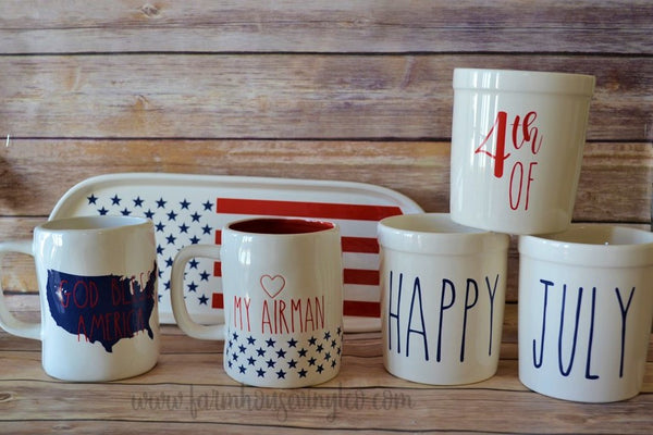 Rae Dunn Inspired Patriotic and Fourth of July Mug Decals