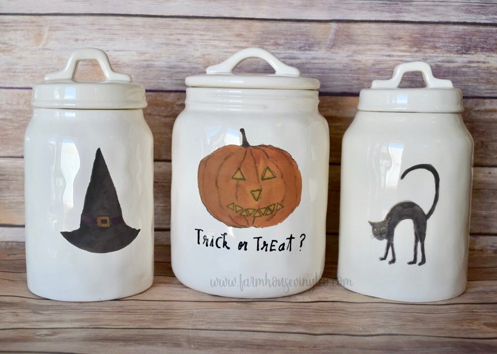 Rae Dunn Inspired Fat Jack and Halloween Line Canister Vinyl Decals