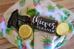 Essential Oil 8oz Spray Thieves Cleaner, Glass Cleaner, Kitchen Cleaner, and More Labels!