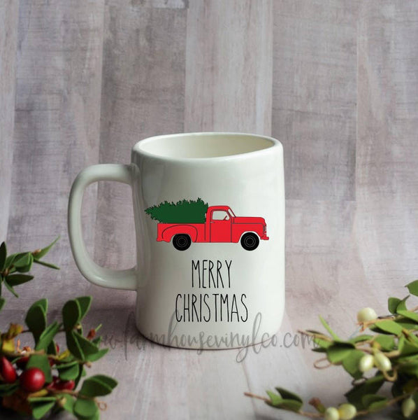 Rae Dunn Inspired Vintage Christmas Truck Vinyl Decal