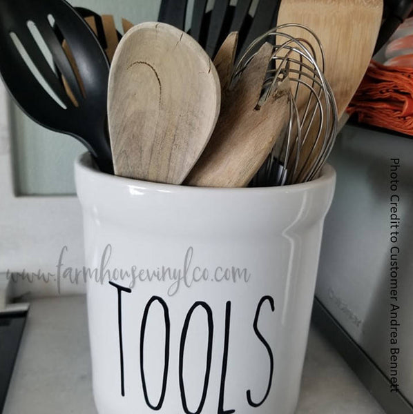 Rae Dunn Inspired Tools Canister Vinyl Decal