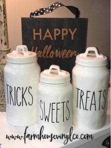 Rae Dunn Inspired Sweets Treats Tricks Canister Vinyl Decals