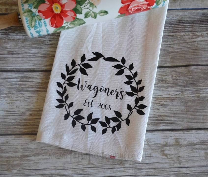 Family Name Established Year Wreath Tea Towel
