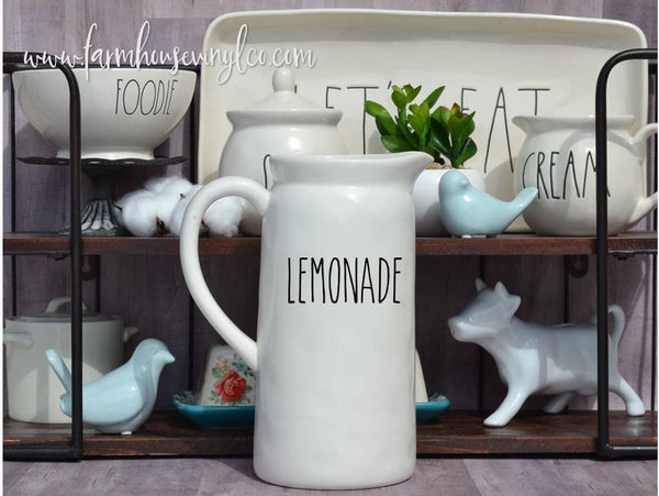 Rae Dunn Inspired Pitcher Vinyl Decals