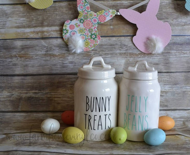 Bunny Treats or Jelly Beans Easter Rae Dunn Inspired Vinyl Decal