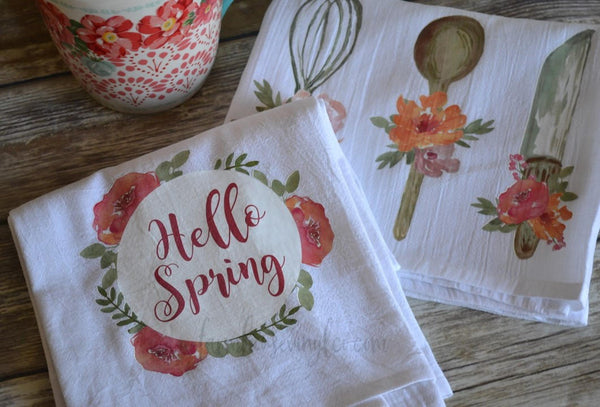 Watercolor Floral Utensils and Hello Spring Farmhouse Tea Towel