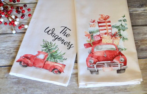 Vintage Red Truck Christmas Towels