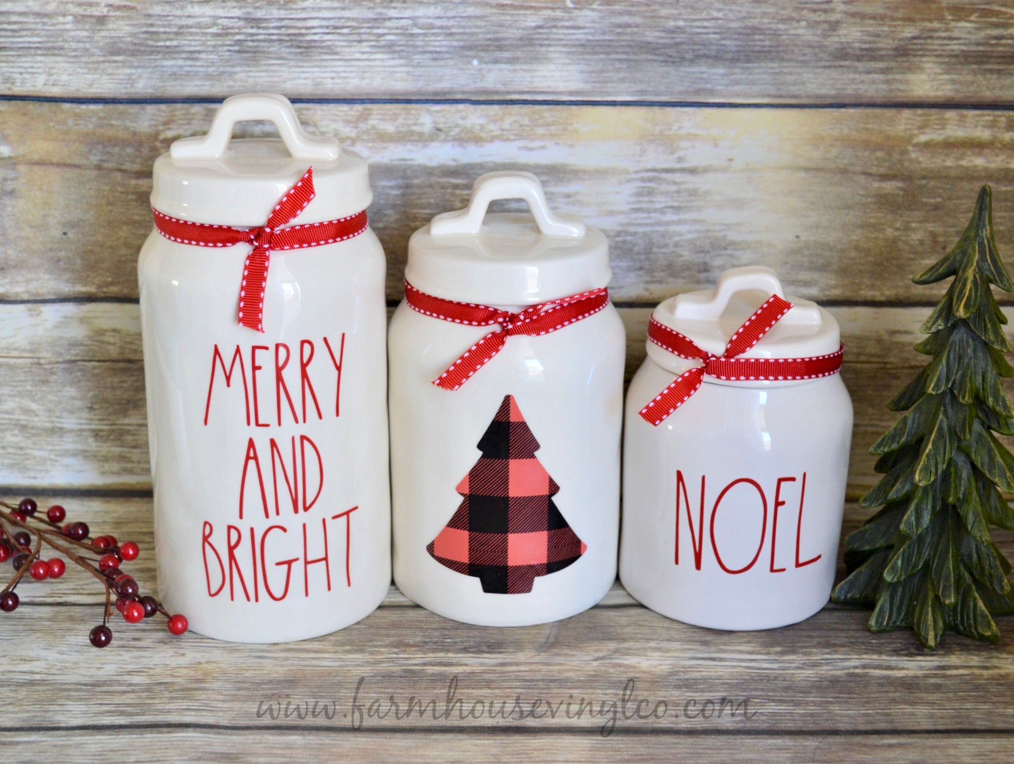 Christmas Farmhouse Decals for Canisters