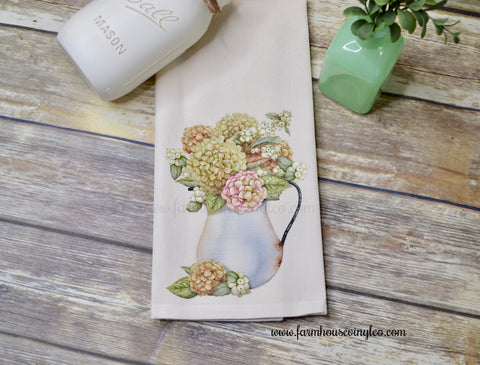 Farmhouse Spring Floral Arrangement Tea Towel