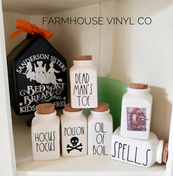 Hocus Pocus Halloween Spice Jar Decals