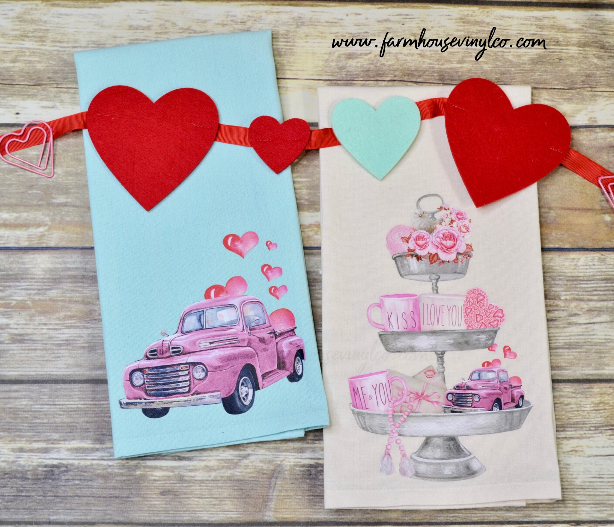 Farmhouse Truck Tier Tray Valentine Towels
