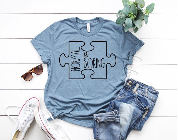 Autism Awareness Normal Is Boring Puzzle Unisex Bella and Canvas T-Shirt!