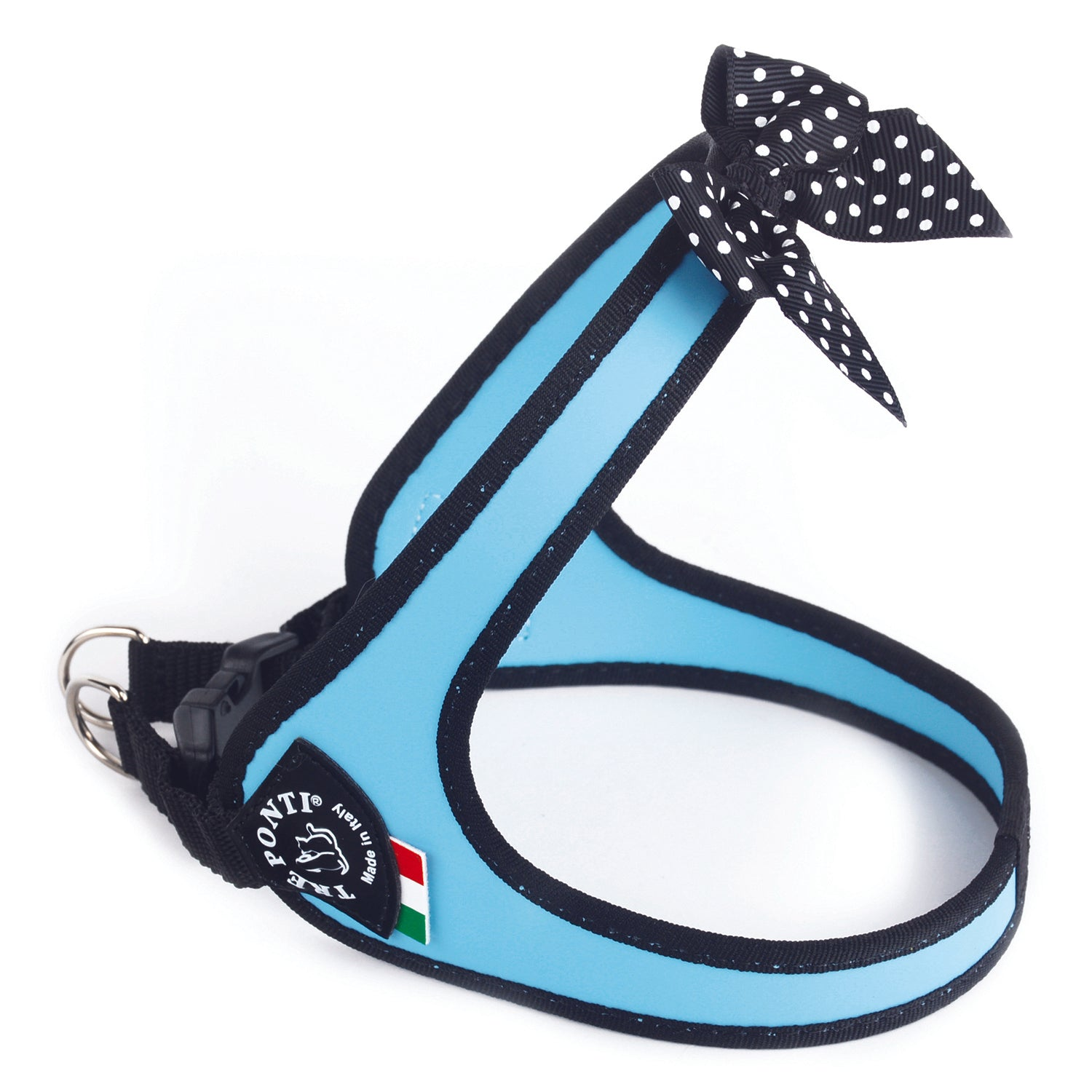 Easy Fit Fashion Harness with Polka Dot Bow Light Blue