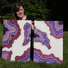 "SOLD-""Amethyst Dreams"", Original Diptych Resin Geode Inspired Painting.  This piece is on display at Stanton Gallery, please contact me for availability"