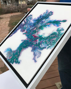 "SOLD- ""Coral Blue"" Abstract Resin and Acrylic Painting, This piece is currently on display at Stanton Gallery, please contact me for availability"