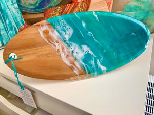 """Surf's Up""  Resin Seascape Olive Wood Cheese Board"