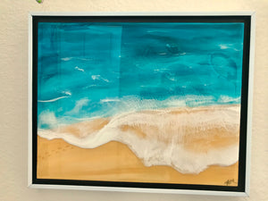 """ Footprints in the Sand"" An Original Resin Seascape Painting"