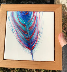 "SOLD ""Flight Of A Warrior"" - Spirit Feather Series, Original Resin Mixed Media Painting"