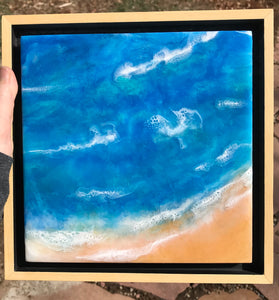 """Sandy Beach"" Original Ocean Abstract Resin Art Painting Seascape"