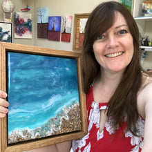 "SOLD ""Canaveral Seashore"", Original Ocean Abstract Resin Beach Painting"