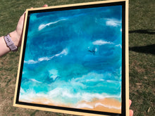 "SOLD - ""Migration"" Ocean Art Abstract Resin Painting With Whales In Seascape"