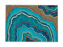 """Mineral Blue"" Original Geode, Agate Resin Abstract Mixed Media Painting!"