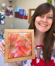 """Orange Crush"" Abstract Resin Painting - At ROX Arts Gallery"