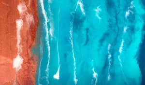 """Red Sand & Sea"" Original Resin Seascape Ocean Painting - Ships Free IN USA!"