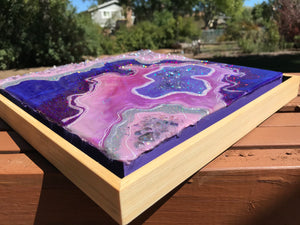 "Sold! ""Lavender in Love"", Original Resin, Mixed Media Geode Inspired Painting"