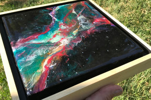 "SOLD- Currently on display at Grace Gallery ""Nebula Rising"", Resin Painting in a Float Frame of the Cosmos"
