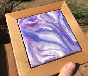 """Purple Passion"", Original Miniature Resin Abstract Painting"