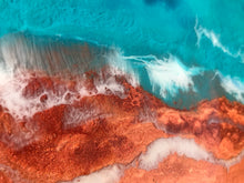 "Sold- ""Red Sand & Sea"" Original Resin Seascape Ocean Painting"