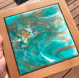 "SOLD ""Sea Foam"" Original Abstract Resin Painting Wall Art - Free Shipping in USA"