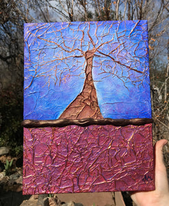 "SOLD!  ""The Mother"", An Original Mixed Media Whimsical Tree Painting - Free Shipping USA"