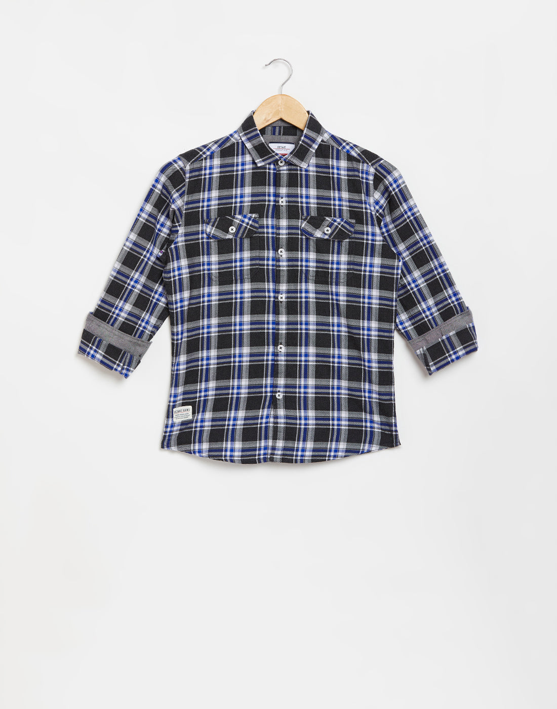 Octave Boys Royal Blue Checked Casual Shirt