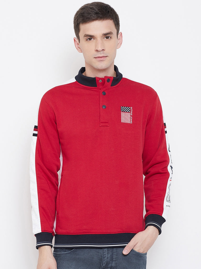 Octave apparels Red, Black and white Sweater for men