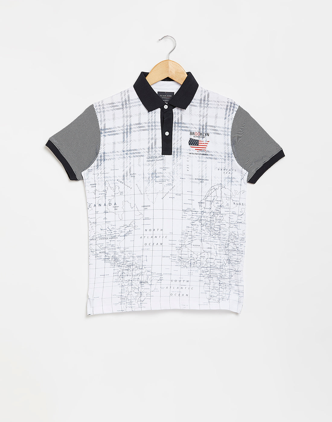 Octave Boys White Printed Polo Tshirt
