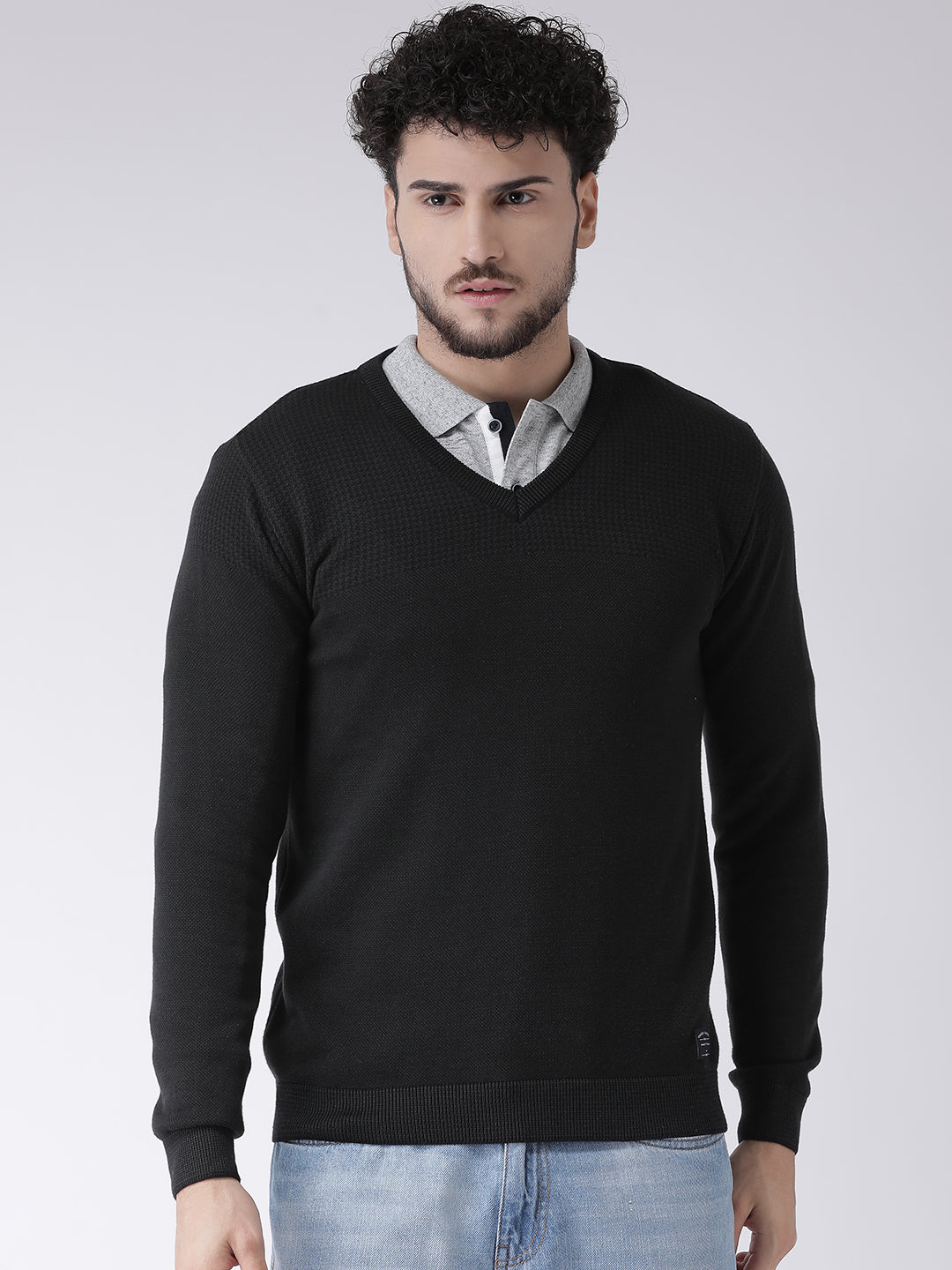 Octave Apparels Black Sweater for Men