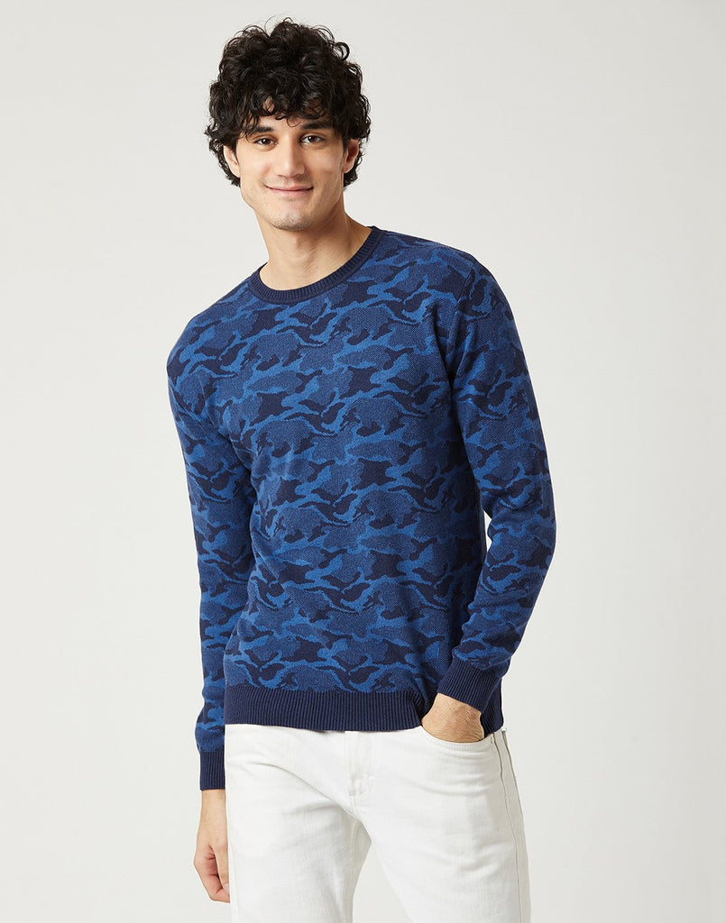 Mettle Men Indigo Melange Printed Sweater