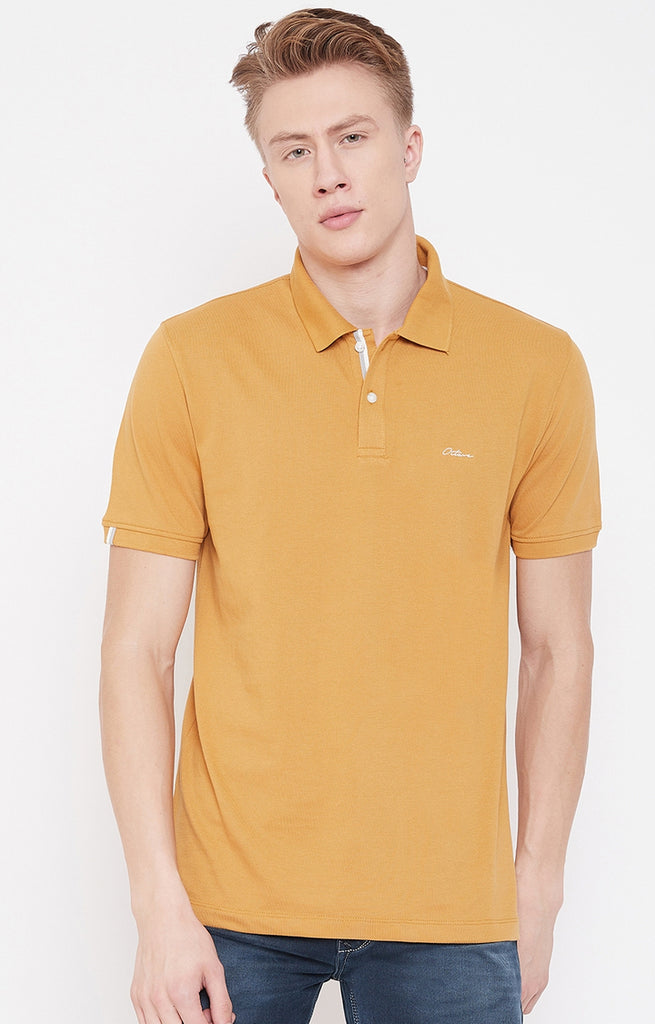 Dusty Mustard Solid Polo T-Shirt