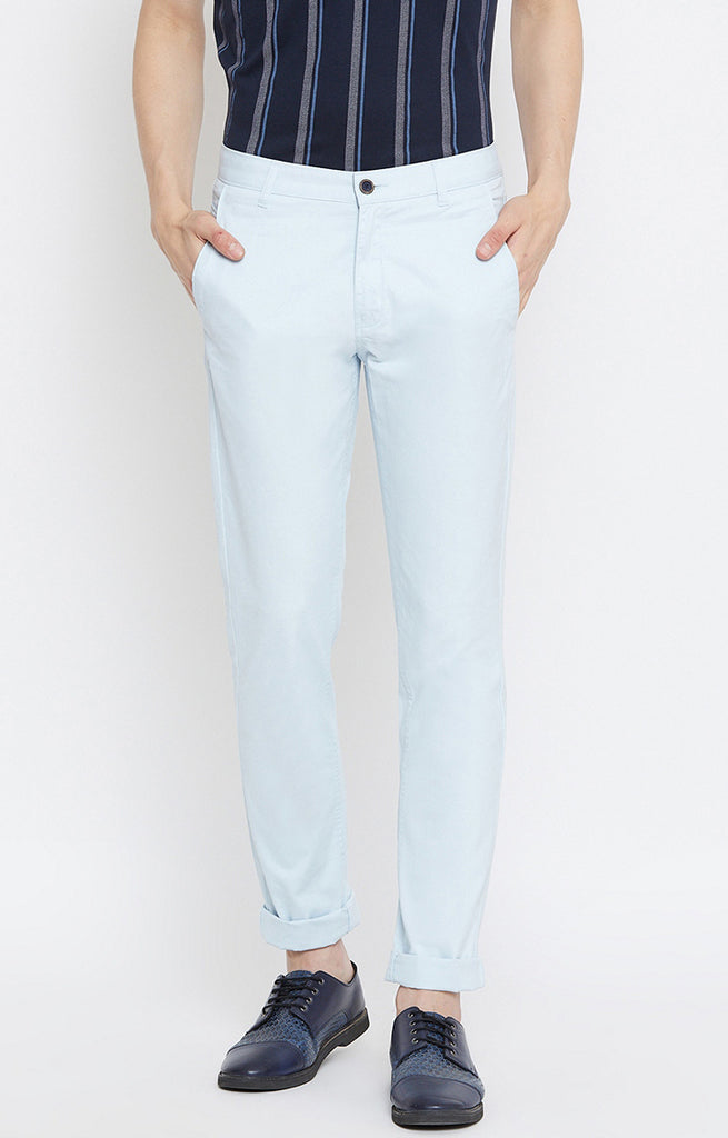 Sky Blue Solid Tapered Chinos