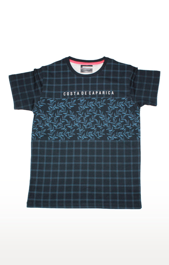 Navy Graphic Checked T-shirt