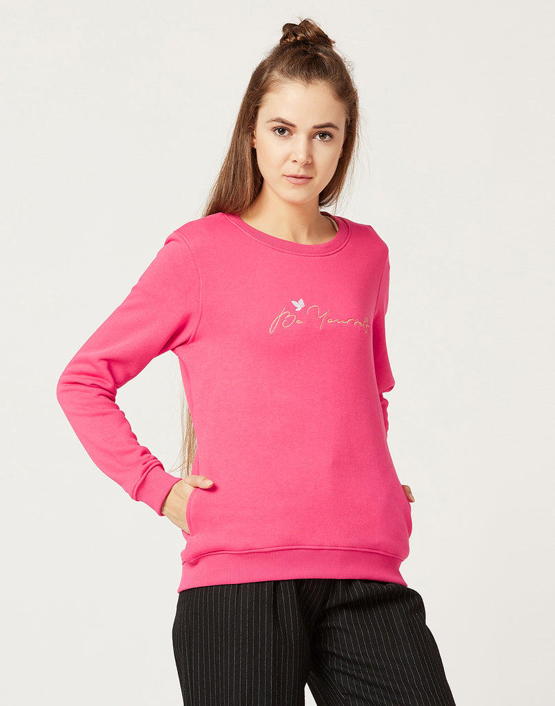 Mettle Women Hot pink Printed Sweatshirt