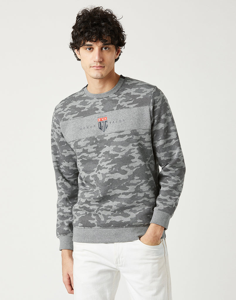 Octave Men Heather Grey Printed Sweatshirt