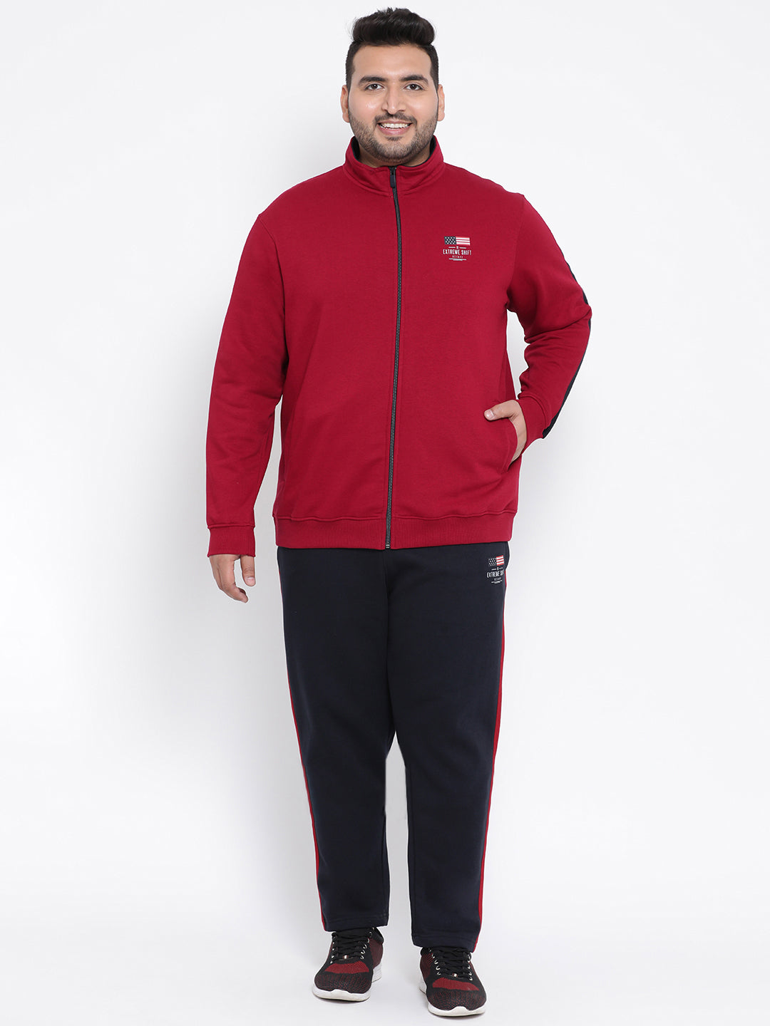 Octave Apparels Red-navy Jogging Suit for Men