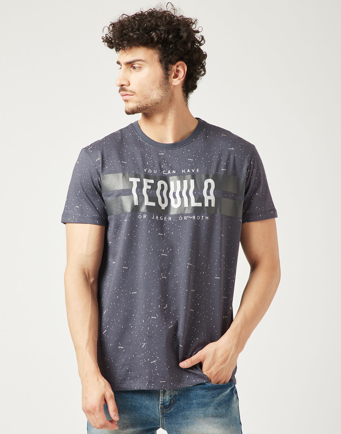 Octave Men Charcoal Grey Printed Tshirt