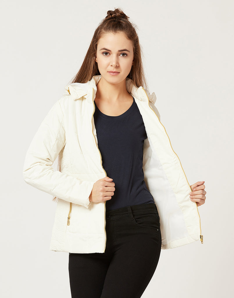 Mettle Women Ivory White Hooded Jacket